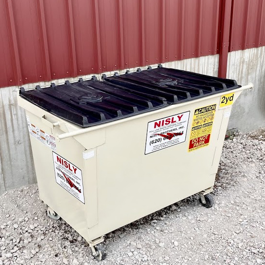 2 yard container for rural residential trash collection near pratt county kansas